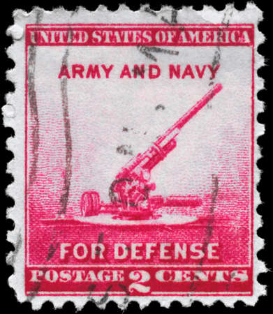 USA - CIRCA 1940: A Stamp printed in USA shows the 90-millimeter Antiaircraft Gun, circa 1940