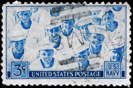 USA - CIRCA 1945: A Stamp printed in USA devoted to Achievements of the US Navy in WWII, circa 1945