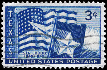 statehood: USA - CIRCA 1945: A Stamp printed in USA devoted to Texas Statehood Centenary, circa 1945 Editorial