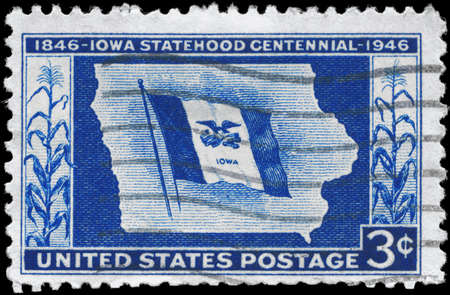 centenary: USA - CIRCA 1946: A Stamp printed in USA devoted to Iowa Statehood Centenary, circa 1946