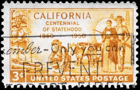statehood: USA - CIRCA 1950: A Stamp printed in USA shows the Gold Miner, Pioneers, and S.S. Oregon, devoted to California Statehood Centenary, circa 1950