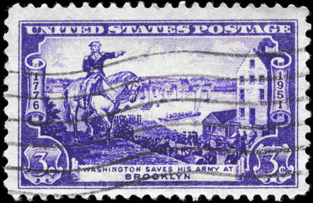 evacuating: USA - CIRCA 1951: A Stamp printed in USA shows the General George Washington evacuating Army, Battle of Brooklyn Issue, circa 1951 Editorial