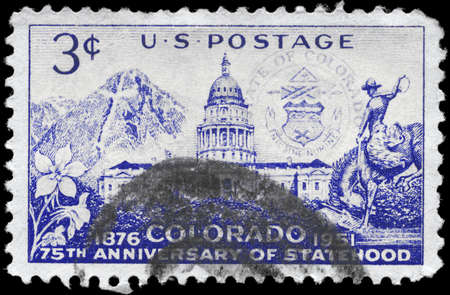 USA - CIRCA 1951: A Stamp printed in USA shows the Colorado Capitol and Mount of the Holy Cross, Colorado Statehood Issue, circa 1951