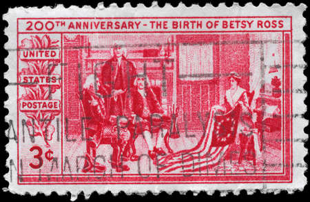 USA - CIRCA 1952: A Stamp printed in USA devoted to 200th anniv. of the birth of Betsy Ross, maker of the 1st American flag, circa 1952