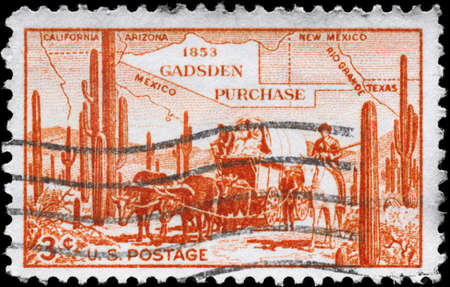 centenary: USA - CIRCA 1953: A Stamp printed in USA devoted to Centenary of James Gadsden�s purchase of territory from Mexico, circa 1953
