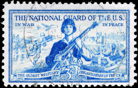 USA - CIRCA 1953: A Stamp printed in USA shows the National Guardsman and Amphibious Landing, circa 1953