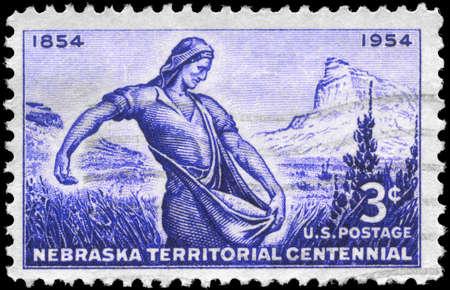 USA - CIRCA 1954: A Stamp printed in USA shows Mitchell Pass, Scotts Bluff &