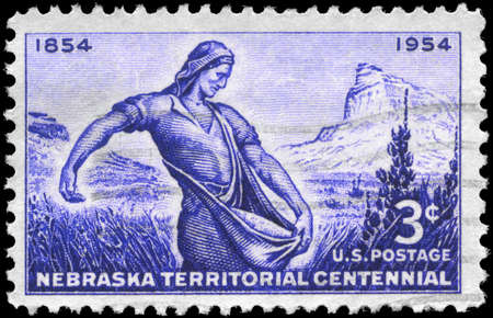 USA - CIRCA 1954: A Stamp printed in USA shows Mitchell Pass, Scotts Bluff &