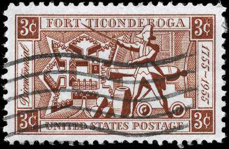 ethan: USA - CIRCA 1955: A Stamp printed in USA shows the Map of the Fort, Ethan Allen and Artillery, Fort Ticonderoga Bicentenary, circa 1955
