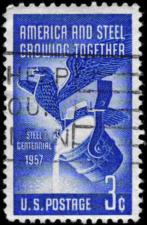 USA - CIRCA 1957: A Stamp printed in USA shows American Eagle and Pouring Ladle, Steel Industry Centenary, circa 1957