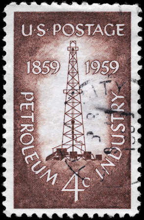 boring rig: USA - CIRCA 1959: A Stamp printed in USA shows the Oil Derrick, Petroleum Industry Issue, circa 1959