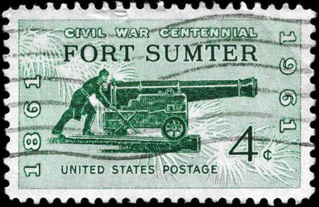 USA - CIRCA 1961: A Stamp printed in USA shows the Sea Coast Gun of 1861, Civil War Centennial Issue, circa 1961