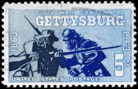 civil war: USA - CIRCA 1963: A Stamp printed in USA shows the Blue and Gray at Gettysburg, 1863, Civil War Centennial Issue, circa 1963