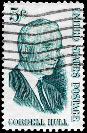 USA - CIRCA 1963: A Stamp printed in USA shows the portrait of a Cordell Hull (1871-1955), Secretary of State, circa 1963 Stock Photo - 12662376