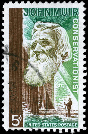conservationist: USA - CIRCA 1964: A Stamp printed in USA shows the portrait of a John Muir (1838-1914), naturalist and conservationist and Redwood Forest, circa 1964