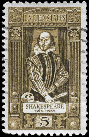 USA - CIRCA 1964: A Stamp printed in USA devoted to 400th anniv. of the birth of Shakespeare (1564-1616), circa 1964