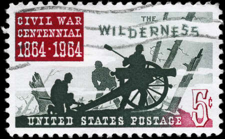 USA - CIRCA 1964: A Stamp printed in USA shows the Battle of the Wilderness, Civil War Centennial Issue, circa 1964