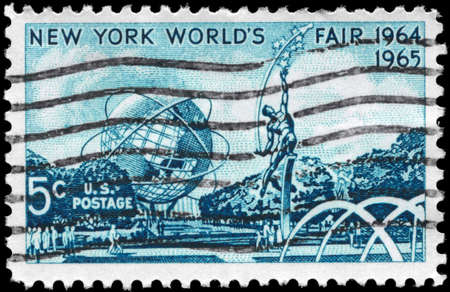 USA - CIRCA 1964: A Stamp printed in USA shows the Mall with Unisphere & Rocket Thrower, by Donald de Lue, New York World�s Fair, circa 1964