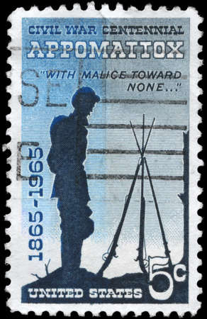 USA - CIRCA 1965: A Stamp printed in USA shows the Soldier with the description Appomatox &quot,with malice toward none &quot, Civil War Centennial Issue, circa 1965