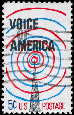 USA - CIRCA 1967: A Stamp printed in USA shows the Radio Transmission Tower and Waves, Voice of America Issue, circa 1967