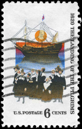 colonizer: USA - CIRCA 1970: A Stamp printed in USA shows the Mayflower & Pilgrims, devoted to Mayflower landing, 350th anniversary, circa 1970