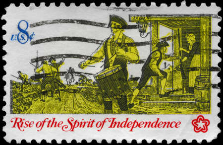 conscription: USA - CIRCA 1973: A Stamp printed in USA shows a Drummer, from the series Rise of the Spirit of Independence, circa 1973 Editorial