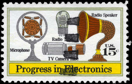 USA - CIRCA 1973: A Stamp printed in USA shows the Microphone, Speaker, Vacuum Tube, TV Camera Tube, Electronics Progress Issue, circa 1973 Stock Photo - 12662367