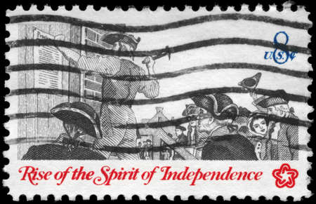 broadside: USA - CIRCA 1973: A Stamp printed in USA shows Posting a Broadside, from the series Rise of the Spirit of Independence, circa 1973