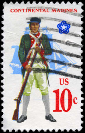 musket: USA - CIRCA 1975: A Stamp printed in USA shows the Marine with Musket, full-rigged Ship, from the series Military Uniforms, circa 1975