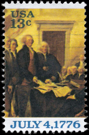 USA - CIRCA 1976: A Stamp printed in USA shows the Declaration of Independence, by John Trumbull, (fragment), circa 1976