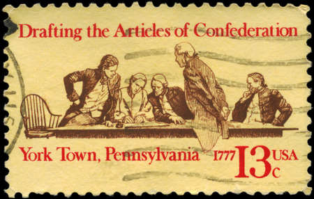 confederation: USA - CIRCA 1977: A Stamp printed in USA devoted to 200th anniversary of drafting the Articles of Confederation, York Town, Pennsylvania, circa 1977