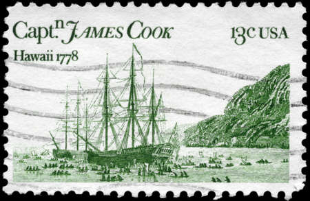 colonizer: USA - CIRCA 1978: A Stamp printed in USA shows the �Resolution� and �Discovery,� by John Webber, devoted to Captain James Cook, 200th anniversary of his arrival in Hawaii, circa 1978