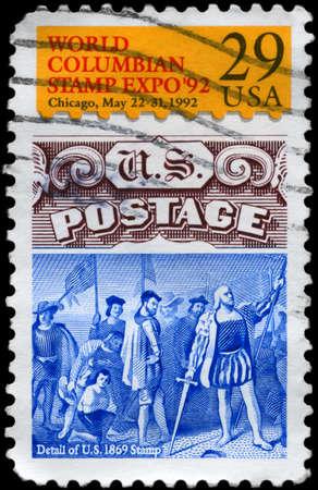 columbian: USA - CIRCA 1992: A Stamp printed in USA devoted to World Columbian Stamp Expo, circa 1992