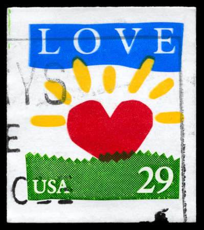 USA - CIRCA 1994: A Stamp printed in USA shows the Love symbols, circa 1994