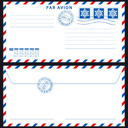 Airmail envelope with stamps on black Çizim