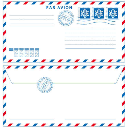 Airmail envelope with stamps on white Vector