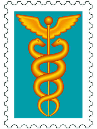 Medical symbol caduceus on postage stamp Vector
