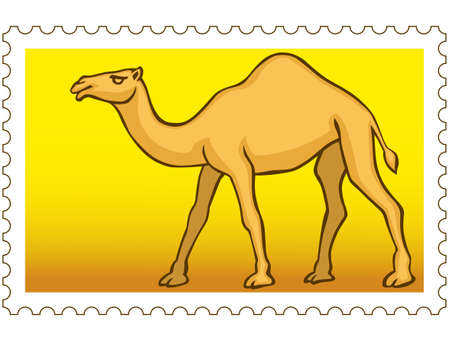 humped: The vector Camel on postage stamp