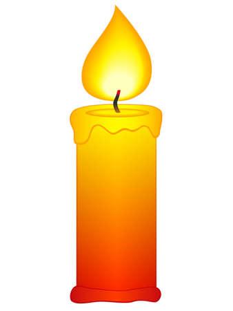 白い背景の上の蝋燭のアイコン  イラスト・ベクター素材
