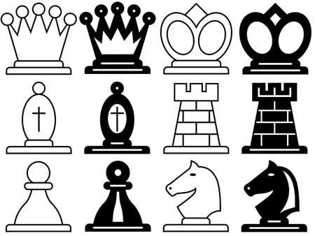 chess knight: El conjunto de s�mbolos de un ajedrez Vectores