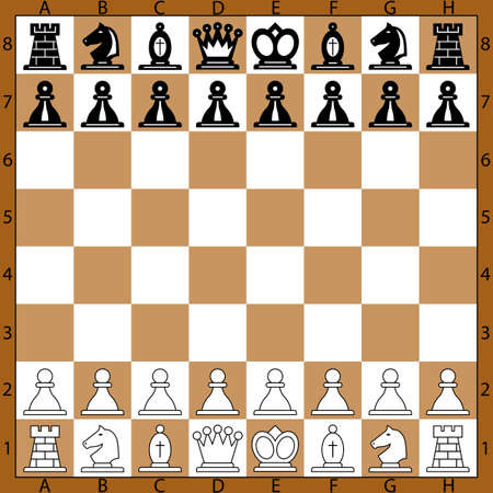 Der Ausgangspunkt Schach Position auf dem Schachbrett Vektorgrafik