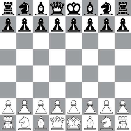 chess knight: La posizione di partenza sulla scacchiera Vettoriali