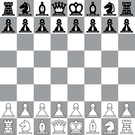 bishop chess piece: The starting position on the chessboard Illustration