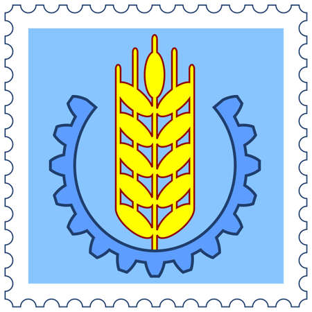 corny: Wheaten spikelet surrounded by pinion on postage stamp  Illustration