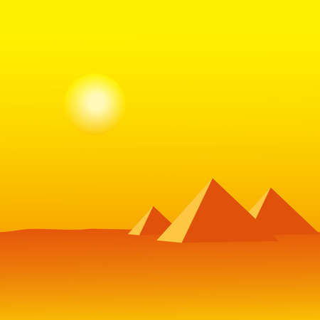 Landscape with three egypt pyramids Illustration
