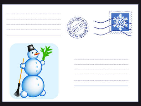Mail envelope with stamp and Snowman on black Vector