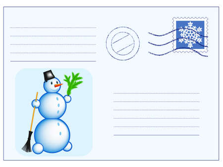 Mail envelope with stamp and Snowman Vector
