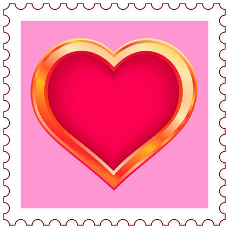 Stylized gold valentine heart on postage stamp Vector