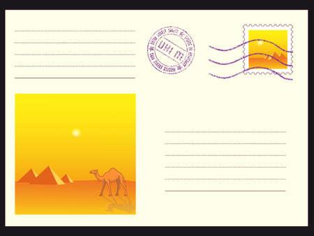 camel post: Mail envelope with stamps on black Illustration