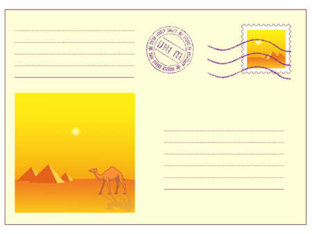 camel post: Mail envelope with stamps on white Illustration